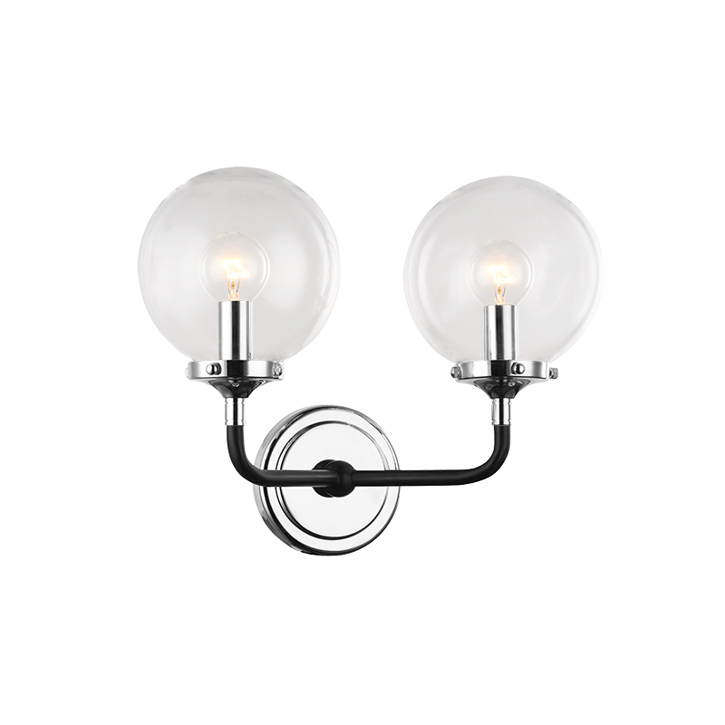Particles 2-Light Wall Sconce | Chrome/Clear