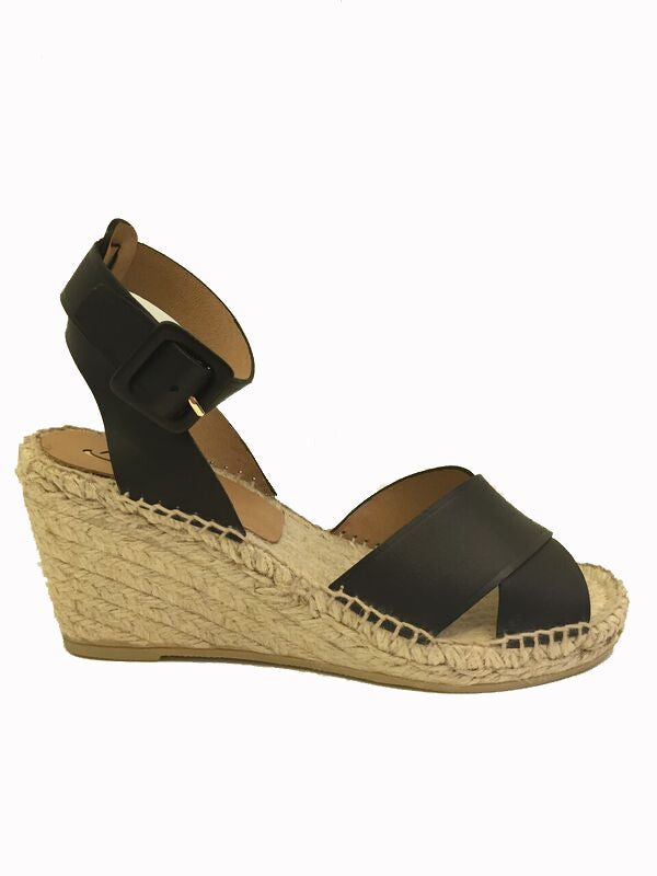 kanna Black leather espadrille style wedge sandal. summer