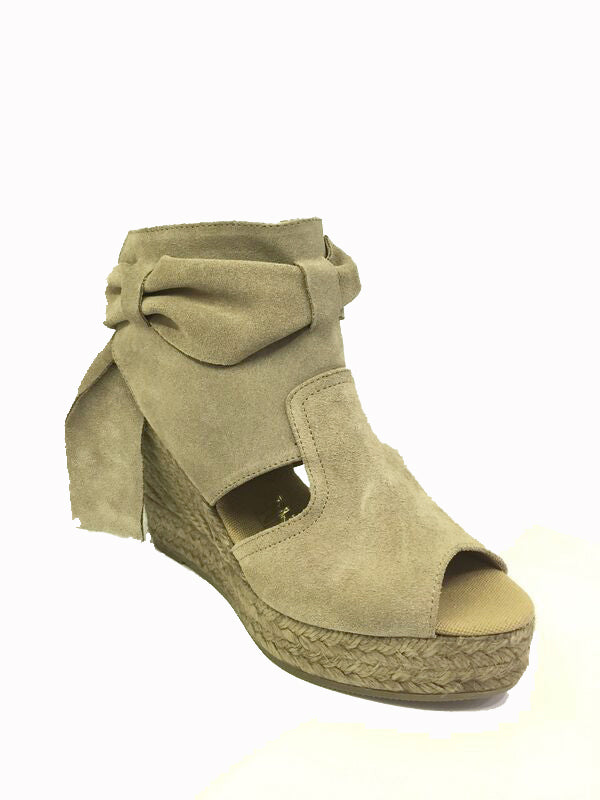 Suede high wedge espadrille open toe