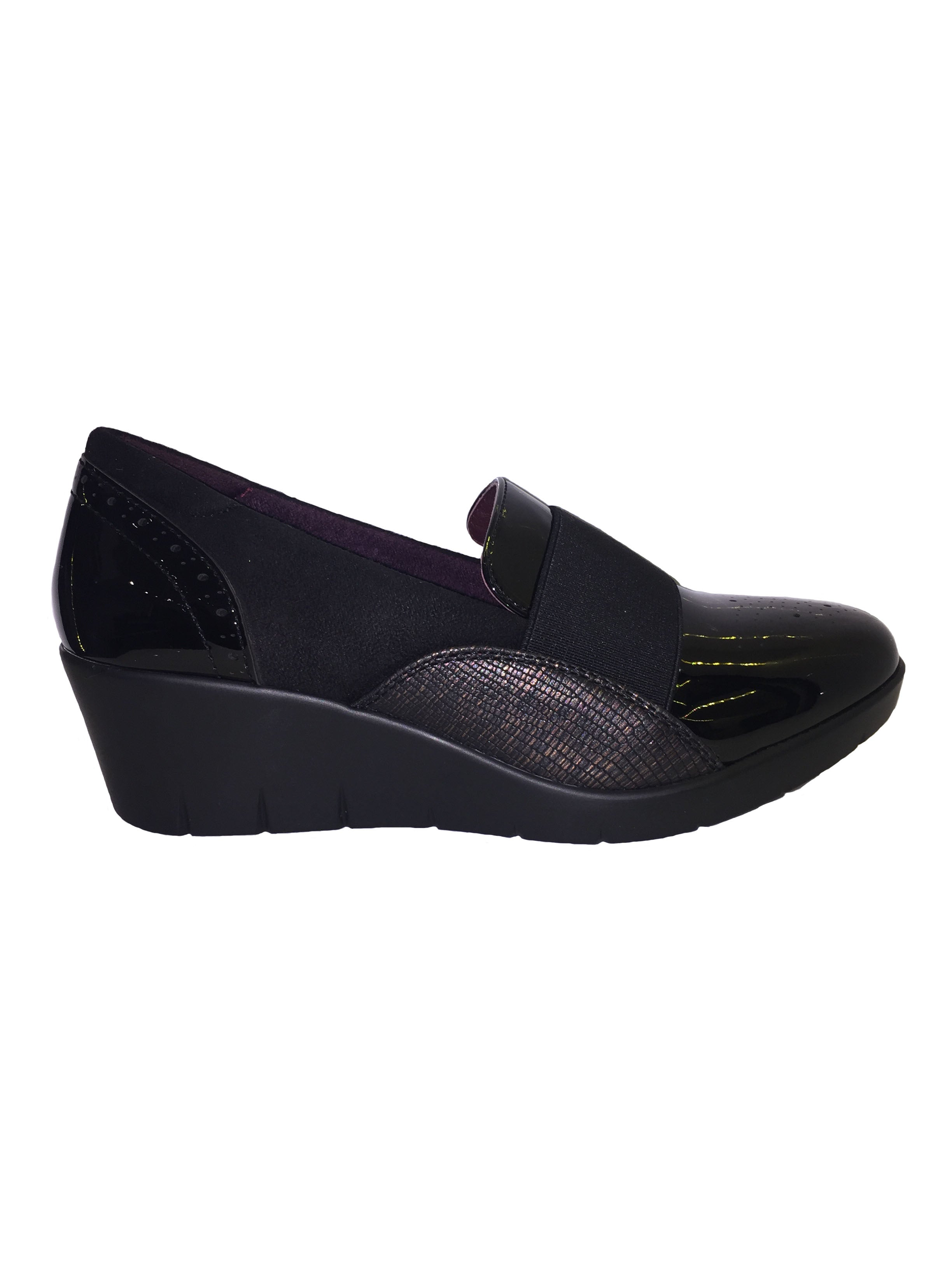 Hurlun Rote Black Slip On Wedges