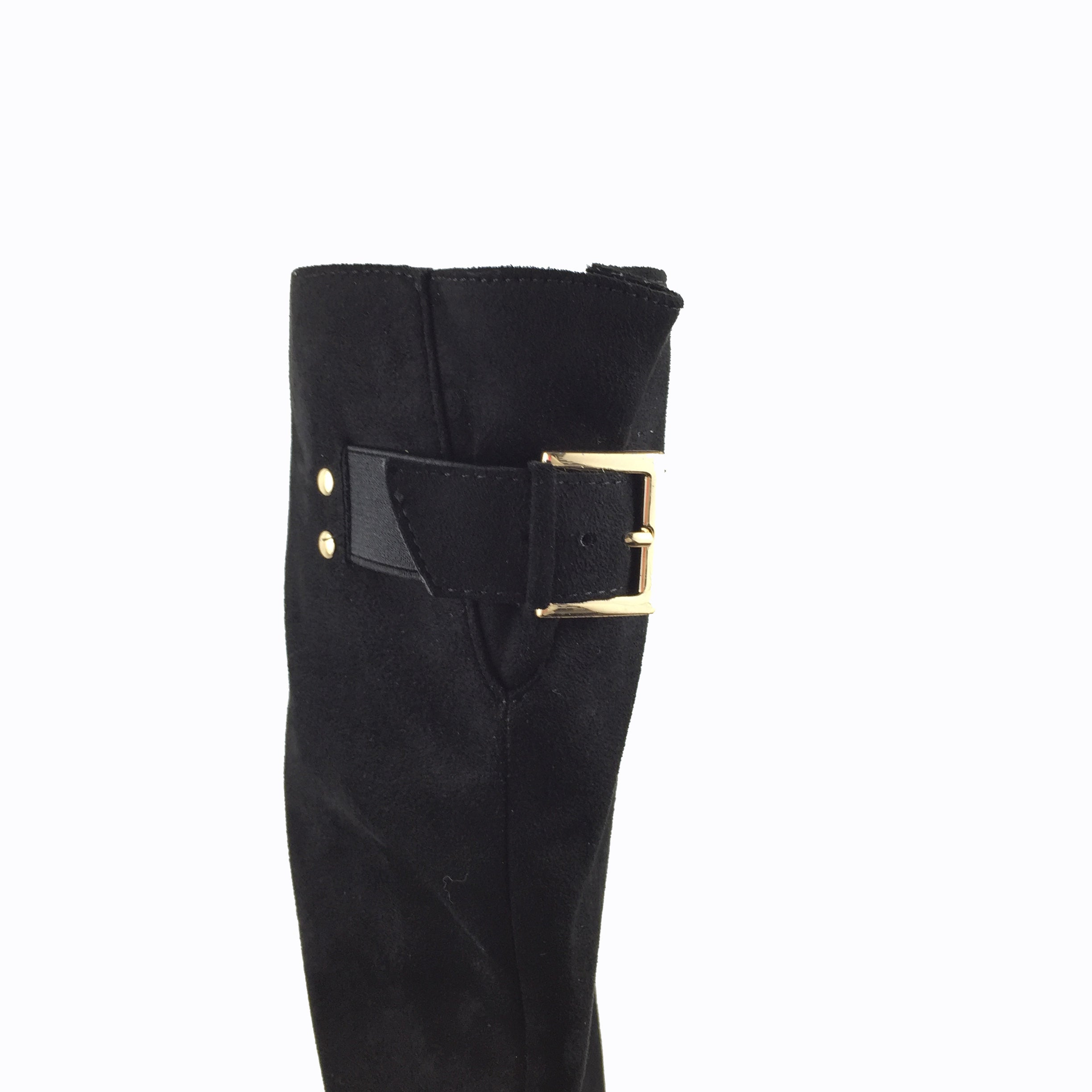 Moda In Pelle fine suede, black knee high boot. Round toe.  mid heel. Gold buckle detail at the back with inside zip.