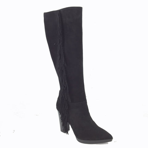 Lodi Black fine Suede Knee high boot. Pointed Toe on a 1cm platform. Fringe Detailing down the side with inside zip fastening. 3.5 inch heel.