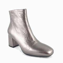 Cherrypic light Bronze leather ankle boot. Inside zip fastening. Square shaped toe design. Low block heel.