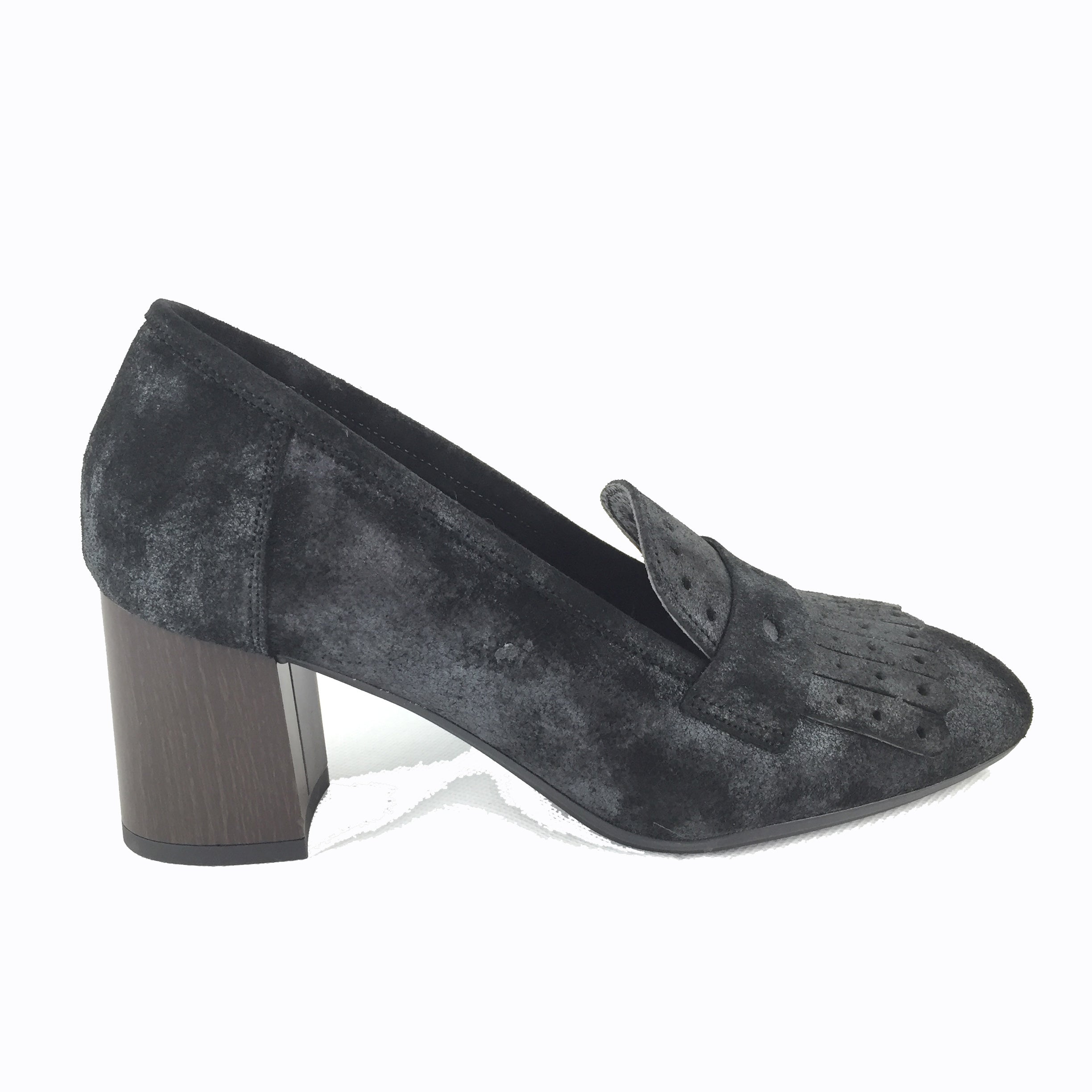 Cherrypic Black Suede Heeled Loafer Cherrypic