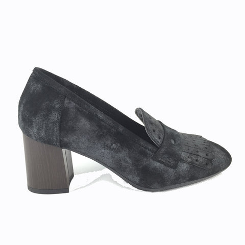 Cherrypic Black distressed suede block Heeled Loafer. Slip on with Gucci inspired front fringe design. Wooden effect block heel. Square shaped toe.