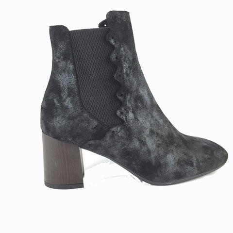 Cherrypic Black distressed suede ankle boot. Slip on with elasticated sides. Wooden effect block heel. Square shaped toe.