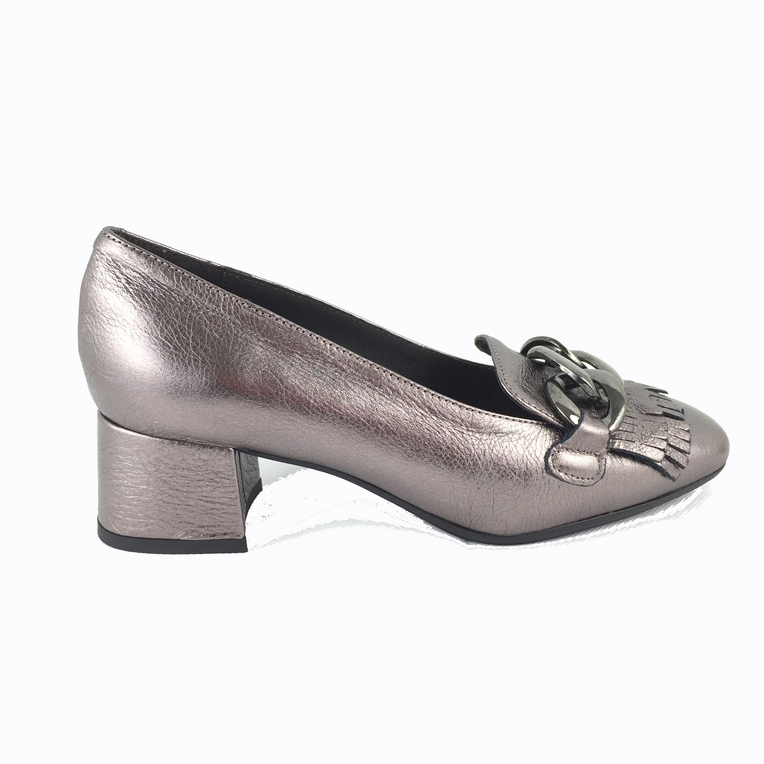 467569b88e5 Cherrypic bronze metallic Gucci inspired heeled loafer. Front silver buckle  with fringe design underneath.