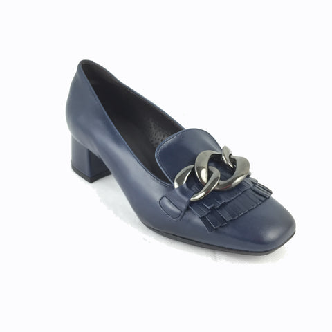 Cherrypic navy leather Gucci inspired heeled loafer. Front silver buckle with fringe design underneath. Square shaped toe design. Low block heel.