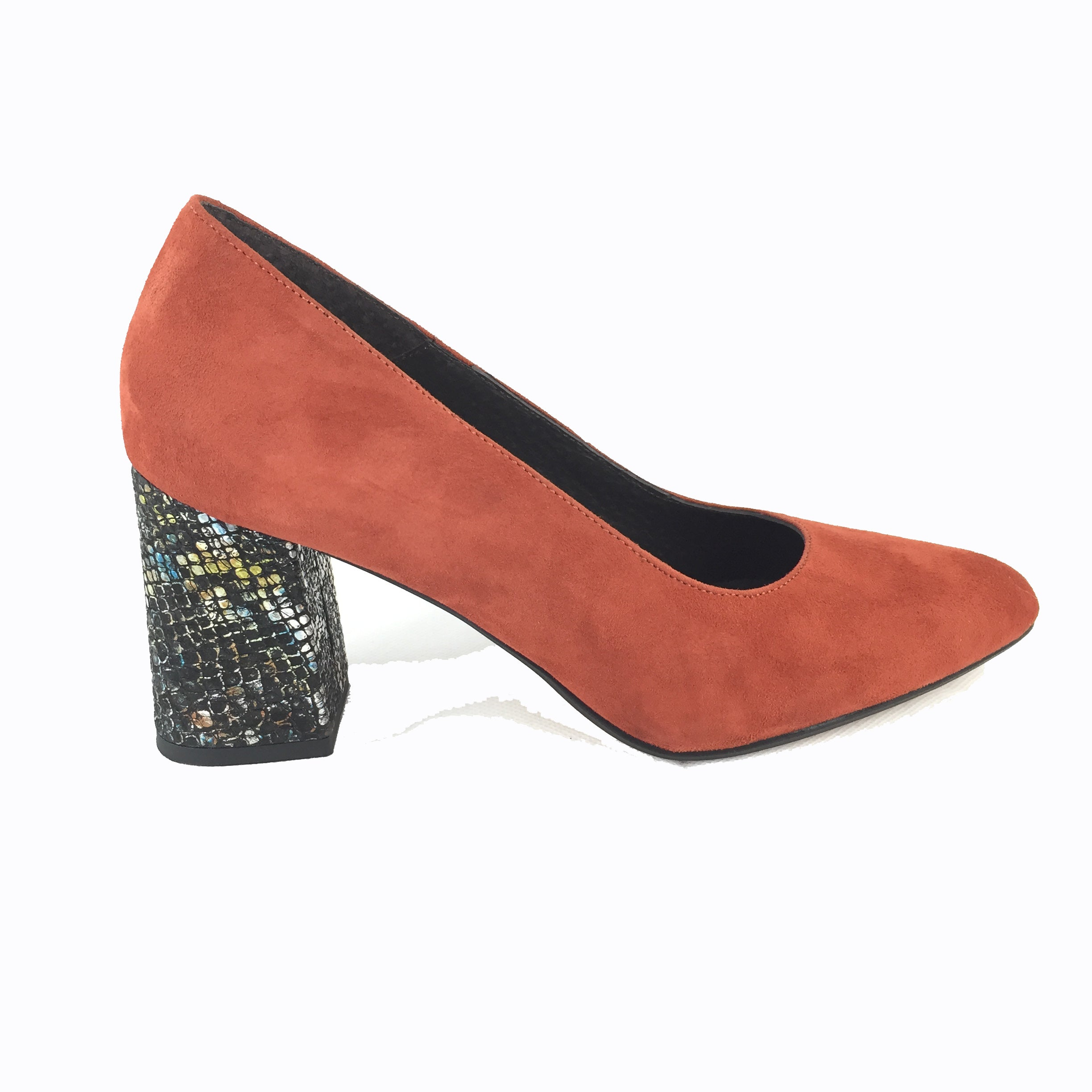 Cherrypic burnt orange suede block heel court shoe. Mid block heel with black and subtle rainbow coloured snakeskin design. Rounded toe.