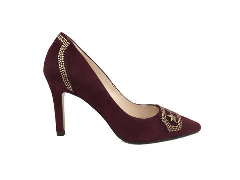 Deep wine coloured suede Lodi court heel. Gold military style embellishments across back and front.