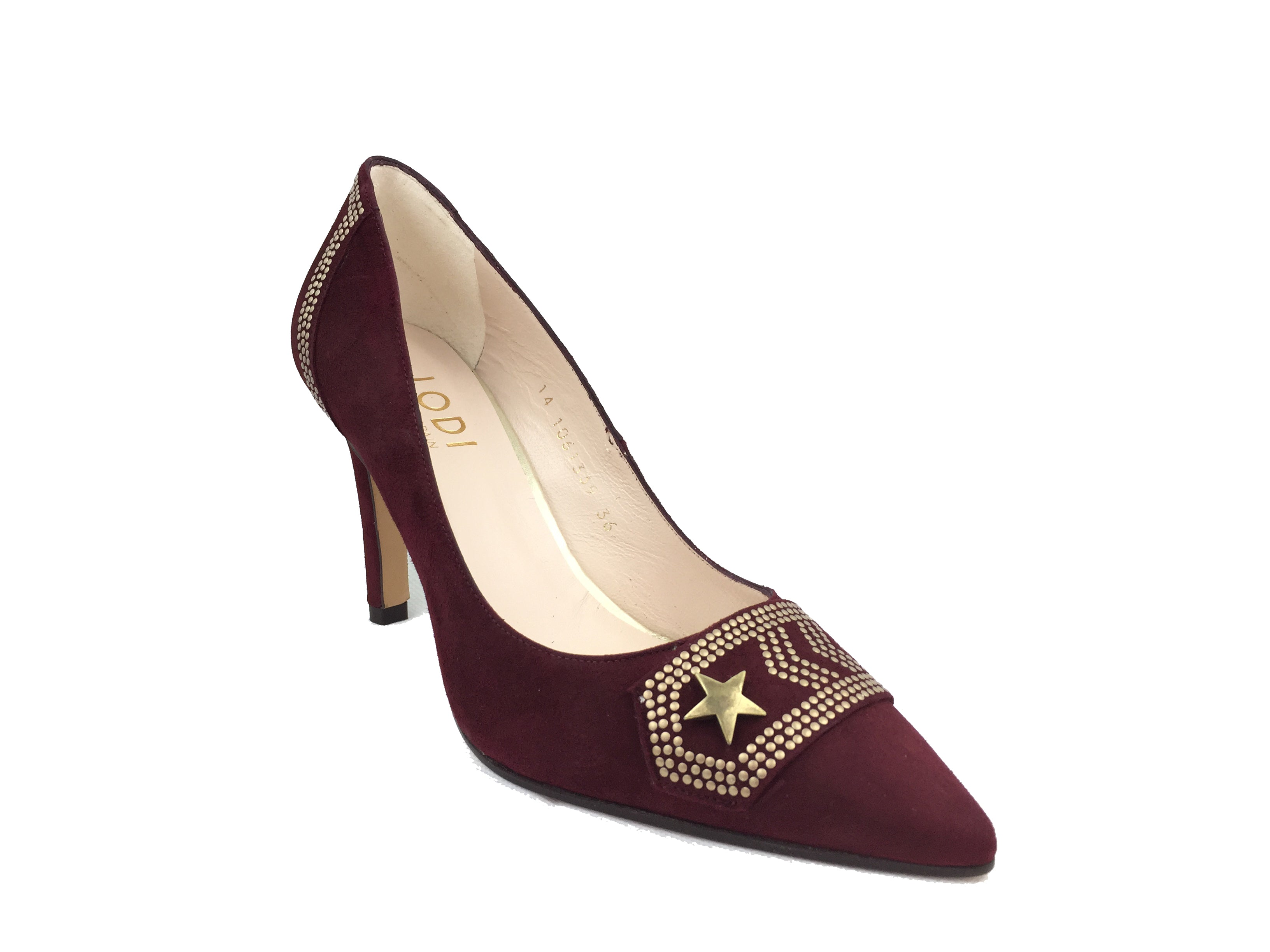 a065698ee5a Deep wine coloured suede Lodi court heel. Gold military style  embellishments across back and front