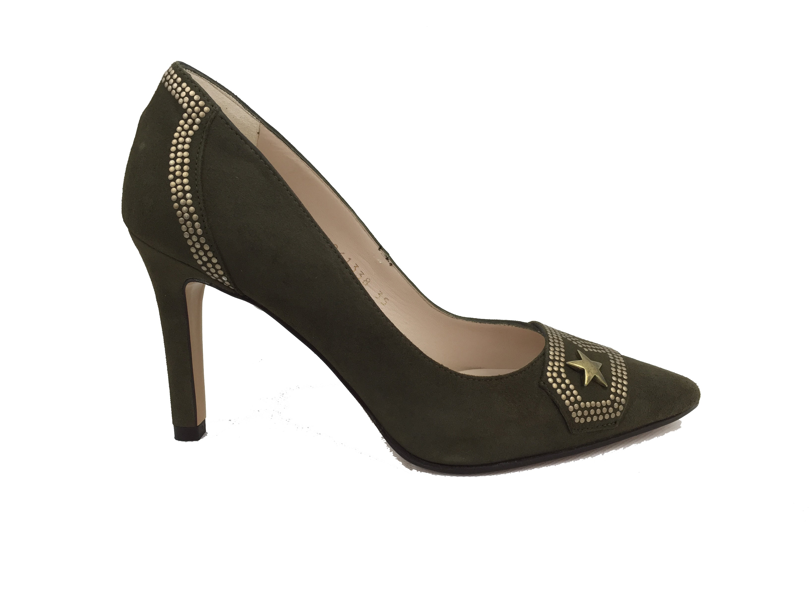 Khaki/olive green coloured suede Lodi court heel. Gold military style embellishments across back and front.