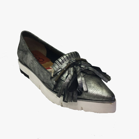 A.S.9.8 Silver metallic real leather flat shoe. Fringe and tassel detailing along toe area. Slip on. White sole height measures 1inch/3cm. Exclusive brand