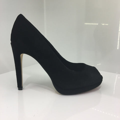 Moda in Pelle Black Peeptoe Shoe