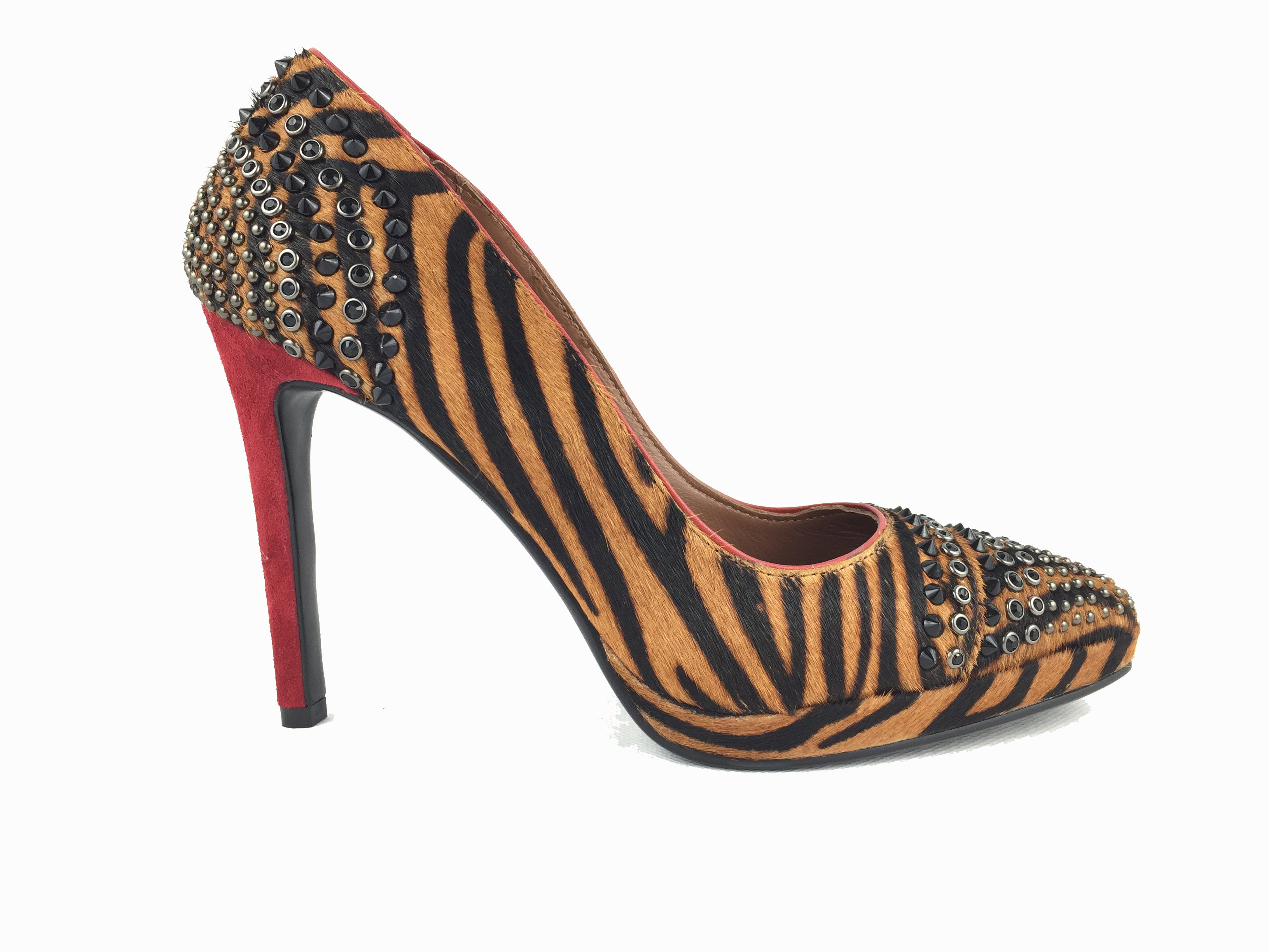 Fur tiger print design heels. Suede red heel. Black diamante and stud embellished toe and back. Hidden platform 1.5cm. Heel height 10cm. Matching bag available.