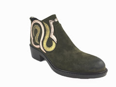 Khaki green suede ankle boot with metallic gold and rose gold swirl design. Zip fastening at heel. 1.5 inch wooden effect heel. Round toe.