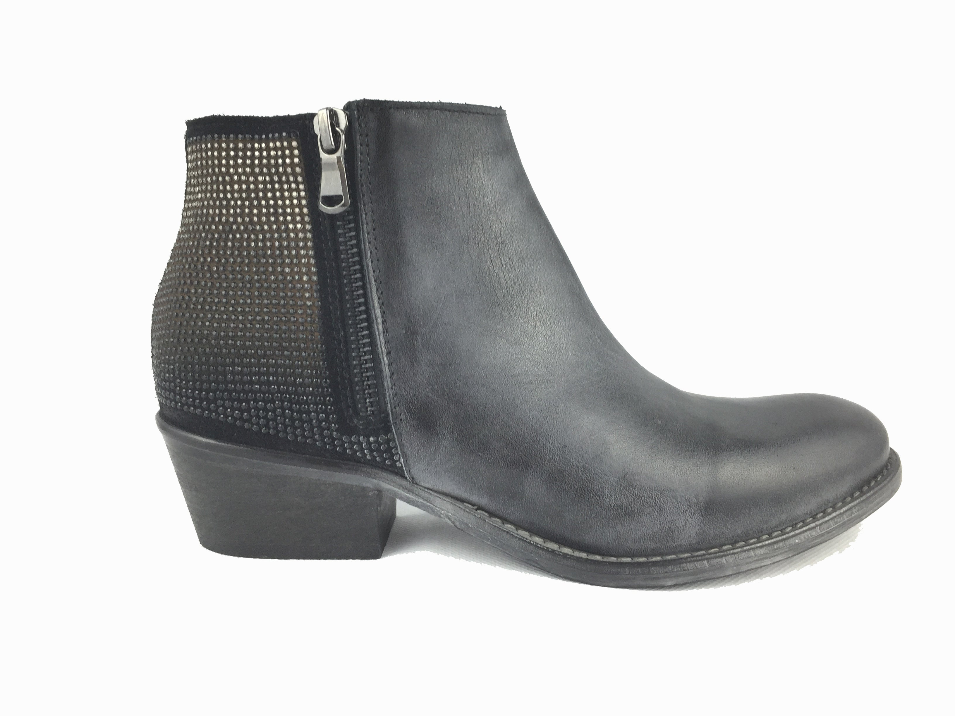 Charcoal grey leather ankle boot with ombre embellished design on back. Inside and outside zip fastening. 1.5 inch wooden effect heel. Round toe.