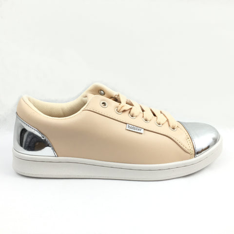 Holster Nude trainer withchrome toe and heel caps. nude laces, paddes footbed,lace up shoe