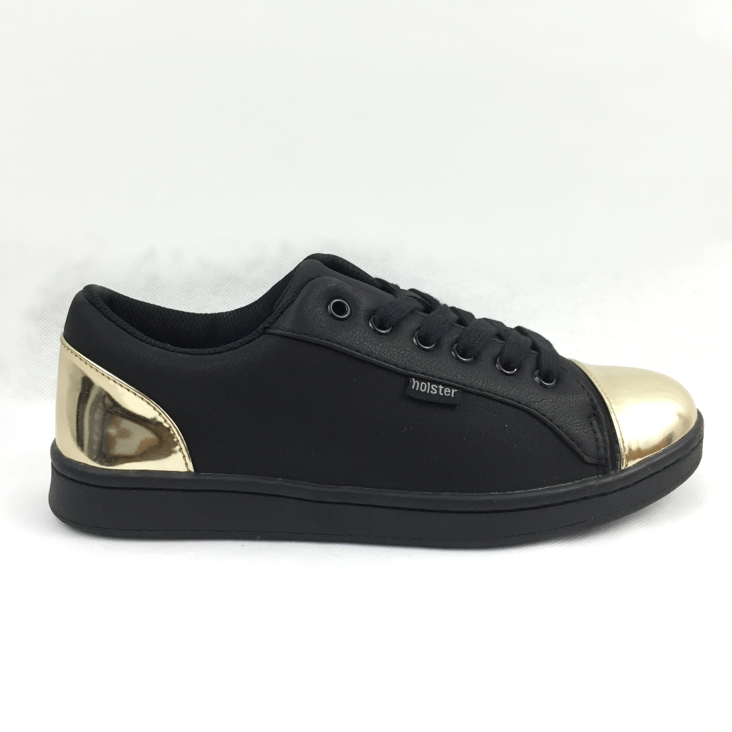 Holster black and gold trainer, Padded, lace up trainer. Gold toe and heel cap. Cherrypic