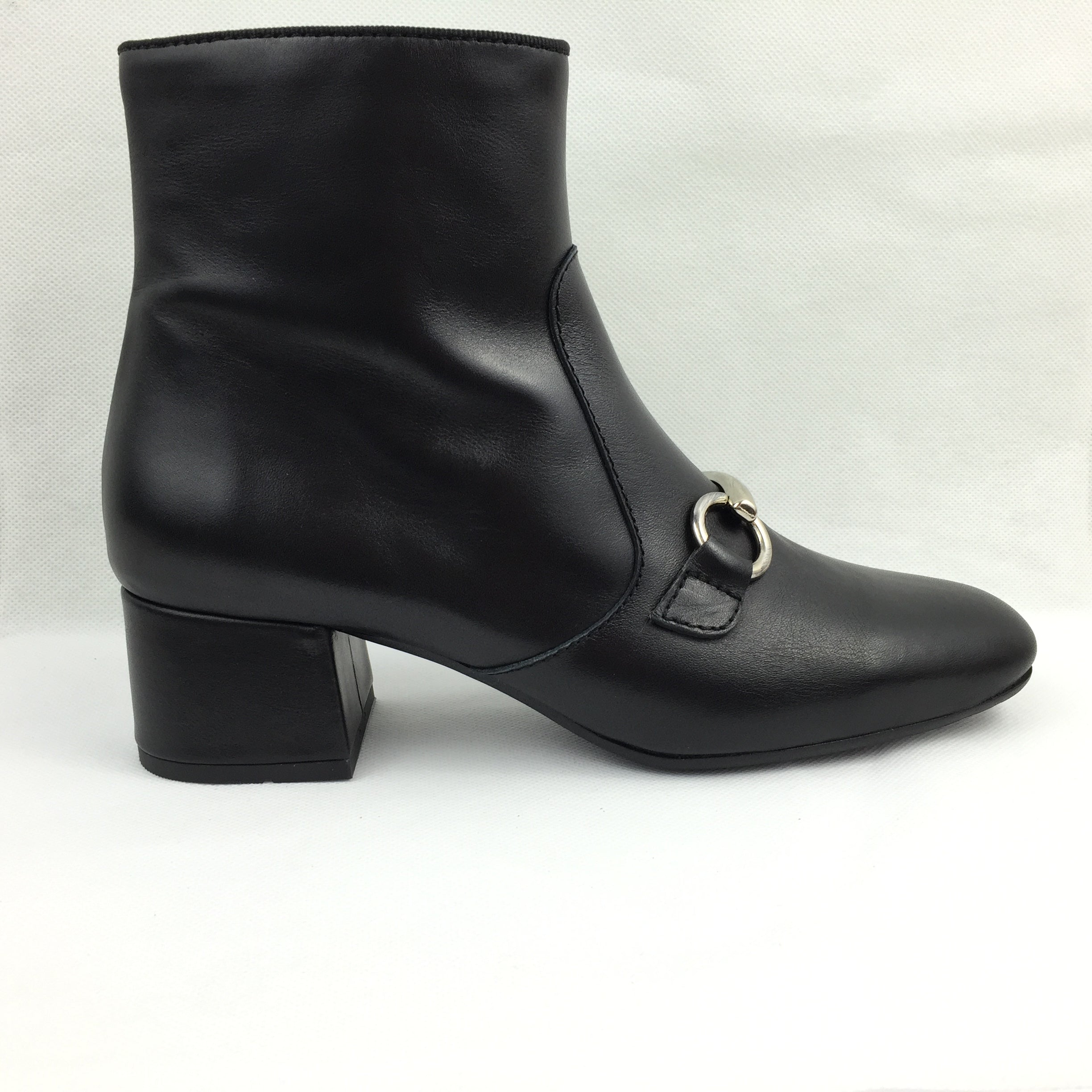 Kanna Black leather block heel . ankle boot. Gucci inspired buckle. comfortable