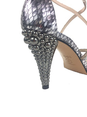 Lodi Silver and Gold Snake Print Sandal