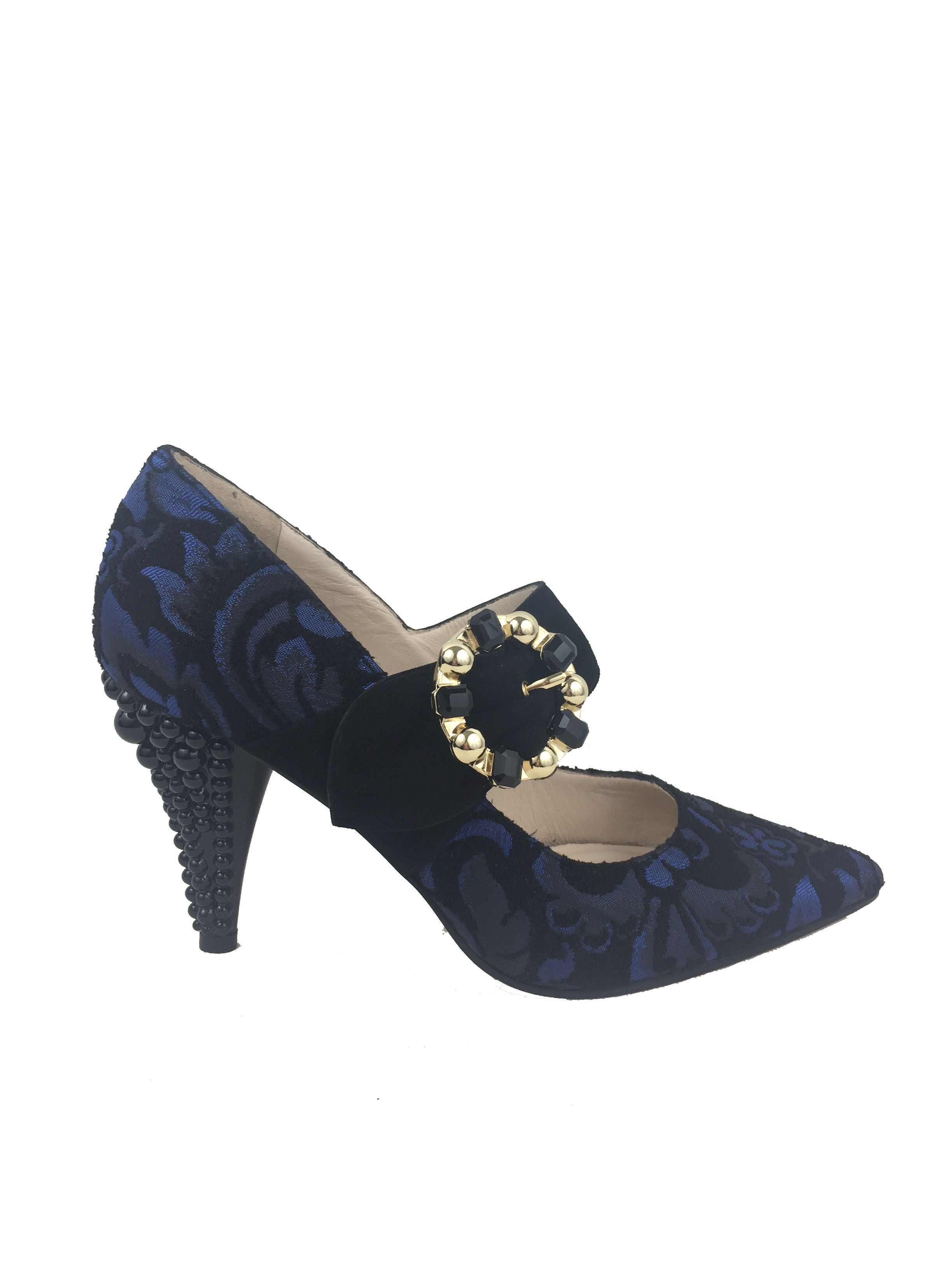 Lodi black and blue gucci heels