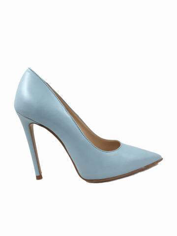 Migato baby blue real leather court shoes. Pointed toe with a 4 inch heel.