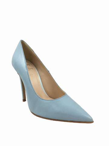Migato baby blue real leather court shoes. Pointed toe with a 4 inch heel. cherrypic
