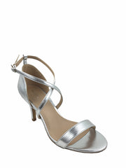 Migato low heel silver sandals. Open toe, cross over straps. 3 inch heel