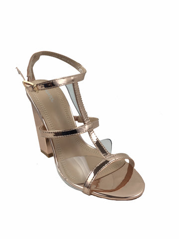 68a4a7809410 Migato rose gold mirrored block heels with see through front. Open toe