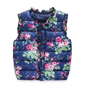 Flower Print Vest Down Cotton