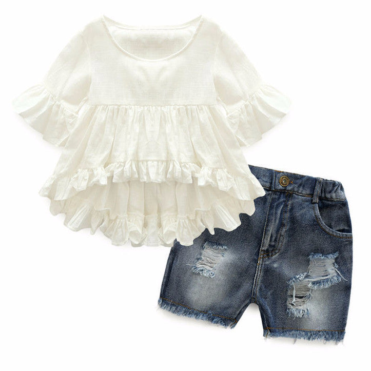 Set Denim & Ruffle Shirt