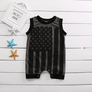 Romper Black Striped Flag