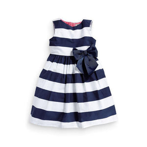 Dress Blue Striped Bowknot