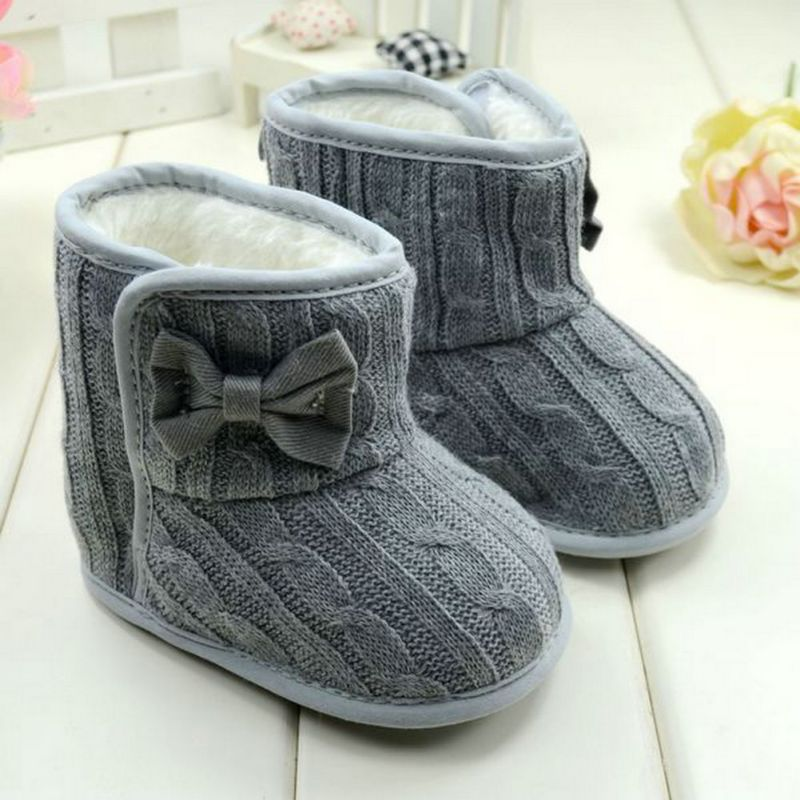 Baby Girl Knit Bowknot Faux Fleece Snow Boot