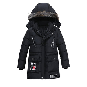 Warm Hooded Cotton Parka Faux Fur