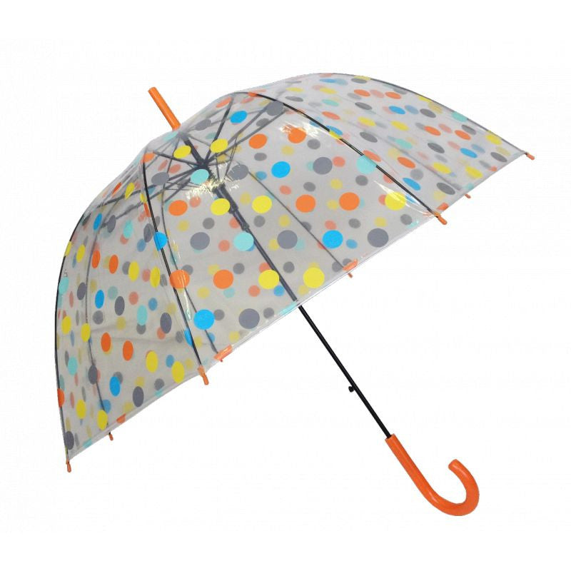 Parapluie transparent canne Susino - Pois Orange - Parapluies de filles