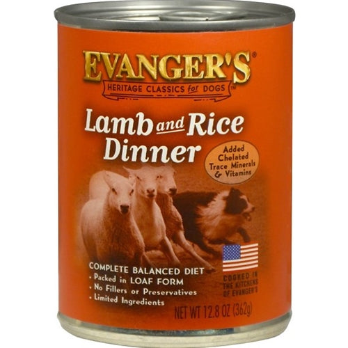 Evangers All Natural Classic Lamb and Rice Dinner Canned Dog Food