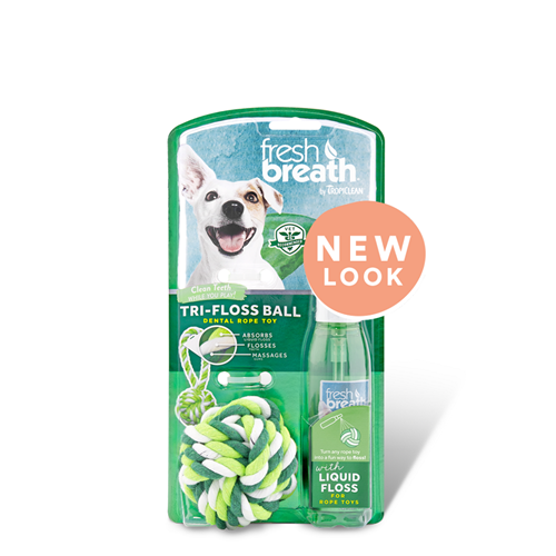 TropiClean Fresh Breath Liquid Floss & TriFlossBall