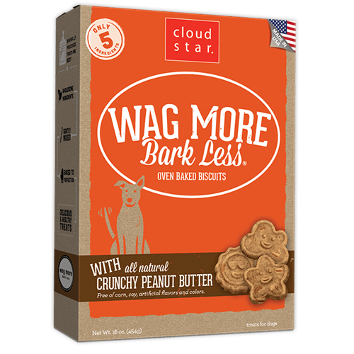 Cloud Star Wag More Bark Less Oven Baked Treats - Peanut Butter Flavor