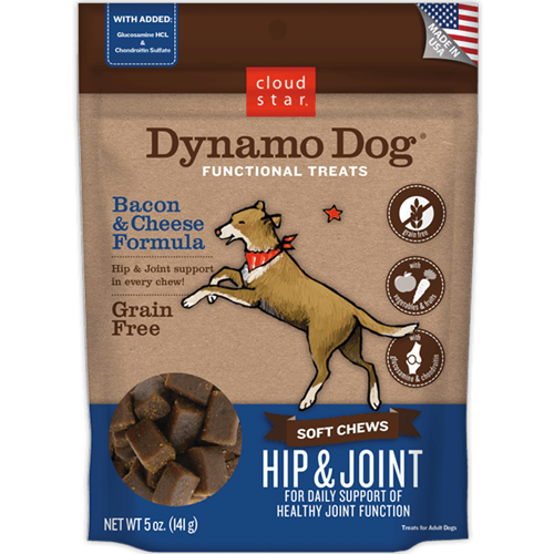 Cloud Star Dynamo Dog Functional Treats: Hip & Joint - Bacon & Cheese