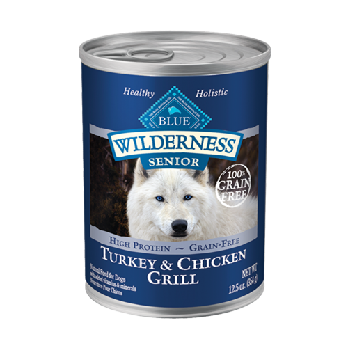 Blue Buffalo Wilderness Grain Free Turkey & Chicken Grill Can Senior Dog Food