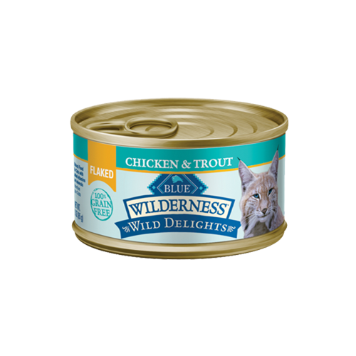Blue Buffalo Wilderness Wild Delights Grain Free Flaked Chicken & Trout Can Cat Food