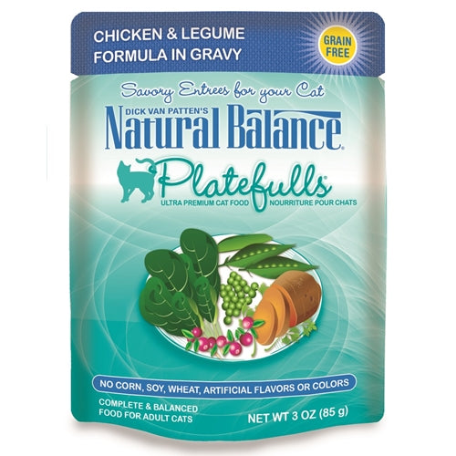 Natural Balance Platefulls Chicken & Legume Formula in Gravy Grain-Free Cat Food Pouches