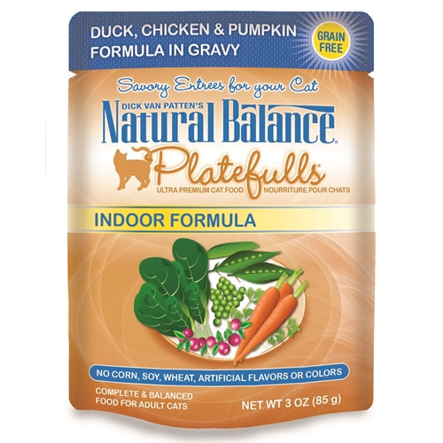 Natural Balance Platefulls Indoor Duck, Chicken & Pumpkin Formula In Gravy Cat Food
