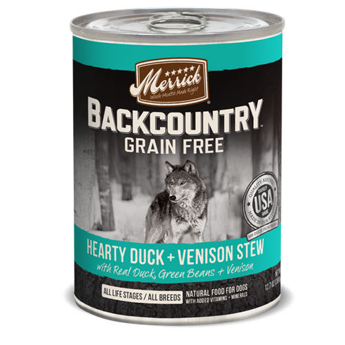 Merrick Grain Free Backcountry Hearty Duck and Venison Stew Canned Dog Food