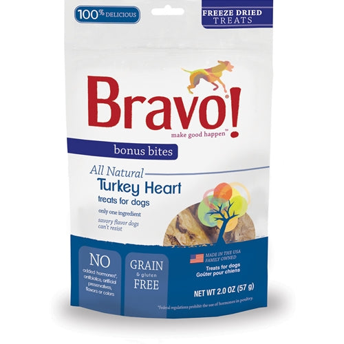 BRAVO! Bonus Bites Freeze Dried Turkey Heart Dog Treats