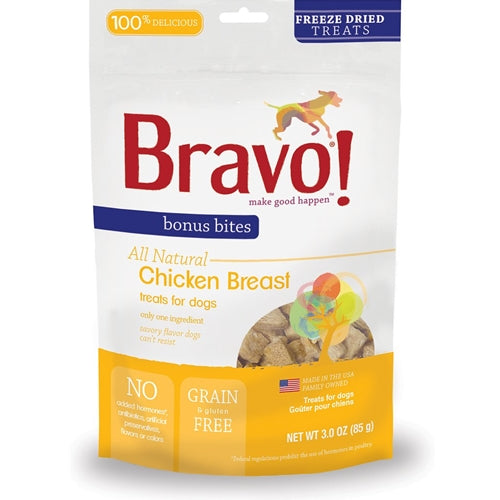BRAVO! Bonus Bites Freeze Dried Chicken Breast Dog Treats
