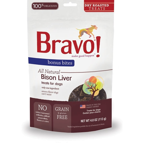 BRAVO! Bonus Bites Freeze Dried Bison Liver Dog Treats