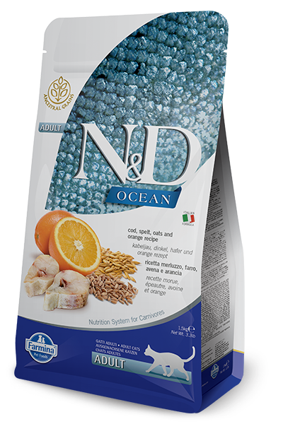 Farmina Natural & Delicious Ocean Ancestral Grain Codfish & Orange Adult Cat Food